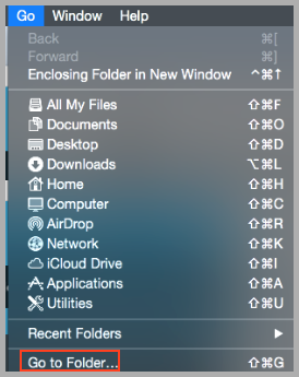 "The ""Go To Folder"" menu entry"